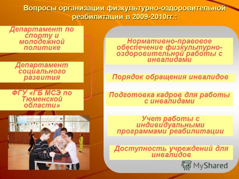 Вопросы организации физкультурно-оздоровительной реабилитации в 2009-2010гг.: Департамент по спорту и молодежной политике Департамент социального развития Нормативно-правовое обеспечение физкультурно- оздоровительной работы с инвалидами Порядок обращ