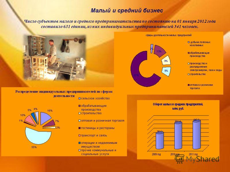Малый и средний бизнес Число субъектов малого и среднего предпринимательства по состоянию на 01 января 2012 года составило 631 единиц, из них индивидуальных предпринимателей 541 человек.