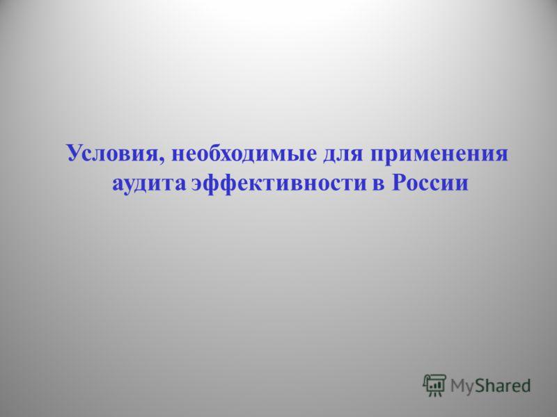 Условия, необходимые для применения аудита эффективности в России
