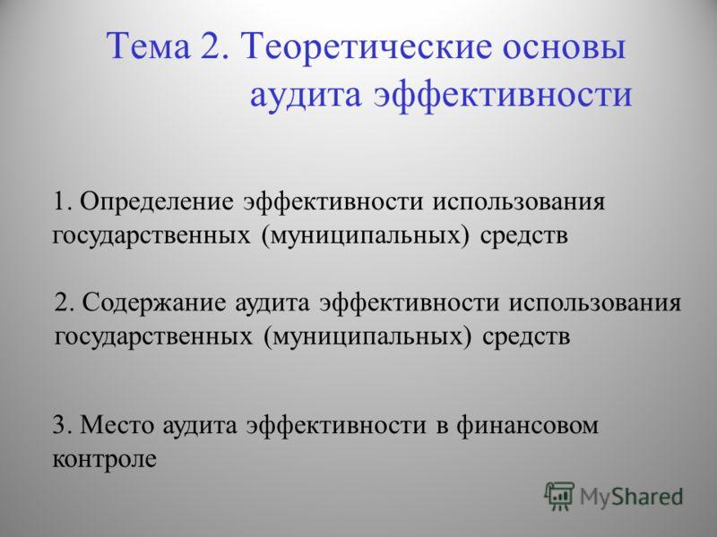 Тема 2. Теоретические основы аудита эффективности 2. Содержание аудита эффективности использования государственных (муниципальных) средств 3. Место аудита эффективности в финансовом контроле 1. Определение эффективности использования государственных
