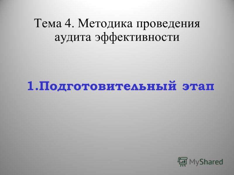 Тема 4. Методика проведения аудита эффективности 1.Подготовительный этап