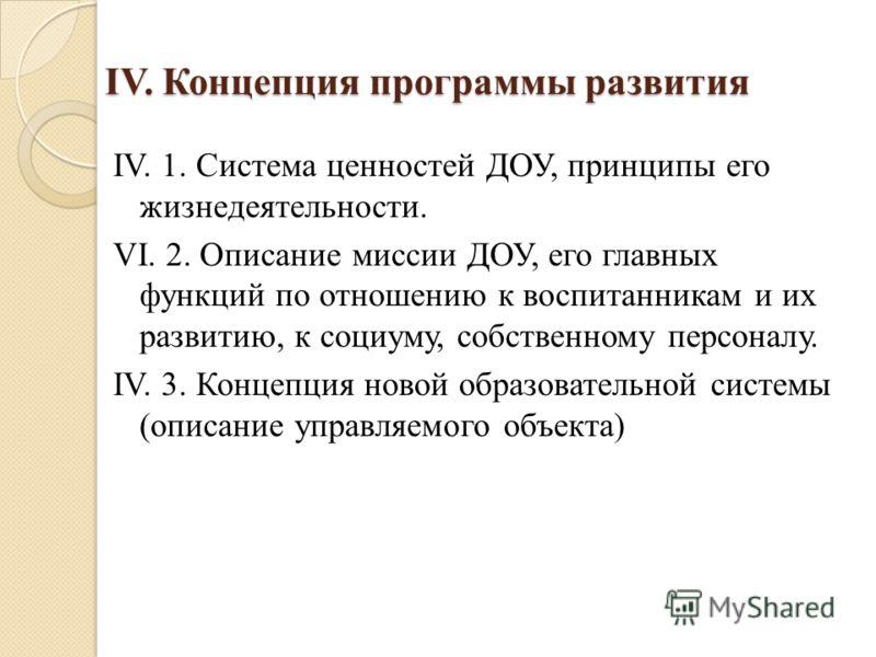 IV. Концепция программы развития IV. 1. Система ценностей ДОУ, принципы его жизнедеятельности. VI. 2. Описание миссии ДОУ, его главных функций по отношению к воспитанникам и их развитию, к социуму, собственному персоналу. IV. 3. Концепция новой образ