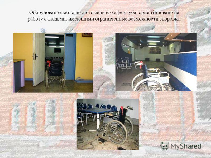 10 Оборудование молодежного сервис-кафе клуба ориентировано на работу с людьми, имеющими ограниченные возможности здоровья.