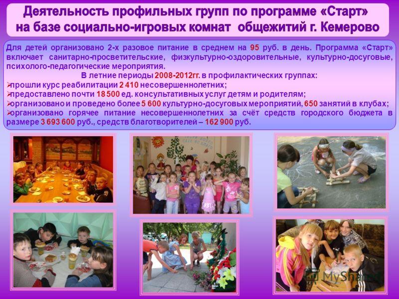 Для детей организовано 2-х разовое питание в среднем на 95 руб. в день. Программа «Старт» включает санитарно-просветительские, физкультурно-оздоровительные, культурно-досуговые, психолого-педагогические мероприятия. В летние периоды 2008-2012гг. в пр