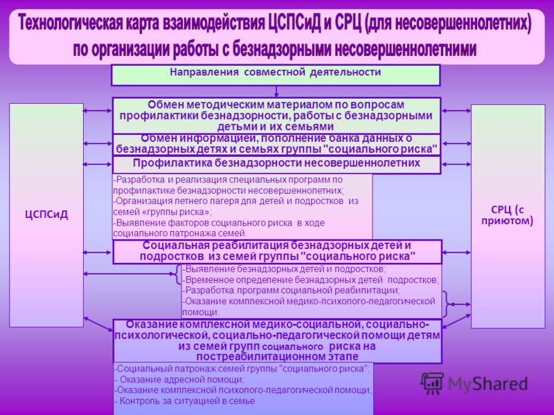 ЦСПСиД СРЦ (с приютом) Направления совместной деятельности Обмен информацией, пополнение банка данных о безнадзорных детях и семьях группы