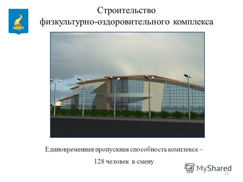 23 Строительство физкультурно-оздоровительного комплекса Единовременная пропускная способность комплекса – 128 человек в смену