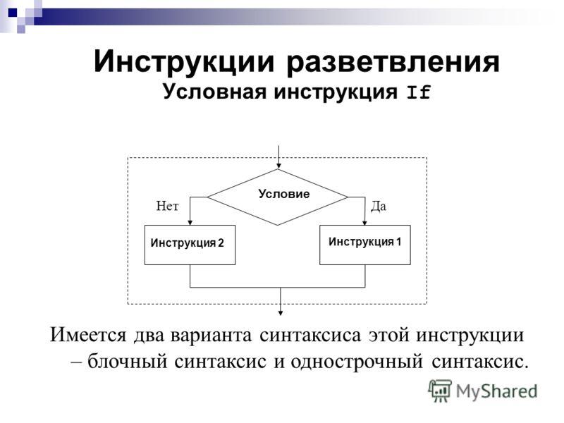 Инструкции разветвления Условная инструкция If Условие НетДа Инструкция 2 Инструкция 1 Имеется два варианта синтаксиса этой инструкции – блочный синтаксис и однострочный синтаксис.