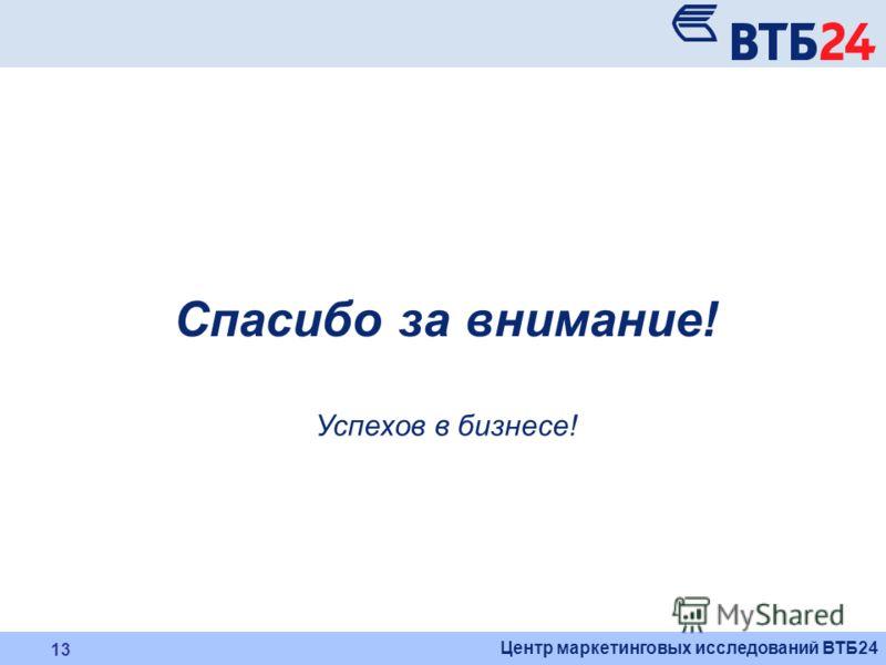 Центр маркетинговых исследований ВТБ24 13 Спасибо за внимание! Успехов в бизнесе!