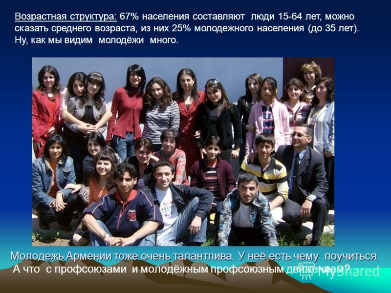 Молодежь Армении тоже очень талантлива. У неё есть чему поучиться. Молодежь Армении тоже очень талантлива. У неё есть чему поучиться. А что с профсоюзами и молодёжным профсоюзным движением? Возрастная структура: 67% населения составляют люди 15-64 ле
