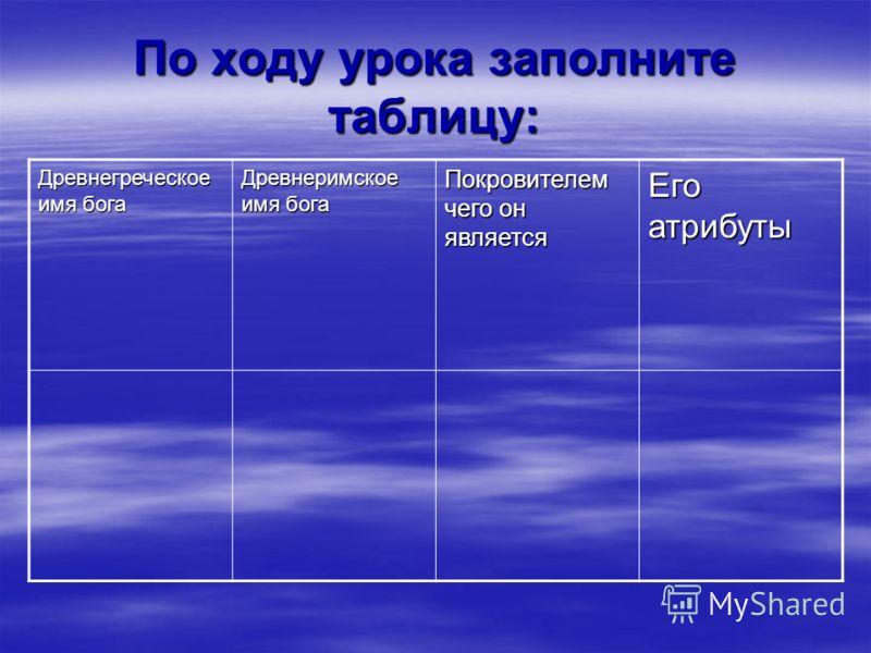 По ходу урока заполните таблицу: Древнегреческое имя бога Древнеримское имя бога Покровителем чего он является Его атрибуты