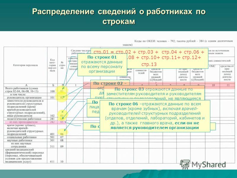 По строке 02 – отражаются данные по руководителю организации стр.01 = стр.02 + стр.03 + стр.04 + стр.06 + стр.07 + стр.08 + стр.10+ стр.11+ стр.12+ стр.13 По строке 01 отражаются данные по всему персоналу организации По строке 03 отражаются данные по