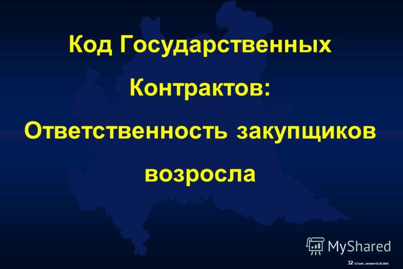32 G.Conti, Jaroslavl 02.06.2008 Код Государственных Контрактов: Ответственность закупщиков возросла