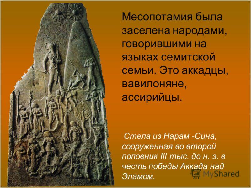 Стела из Нарам -Сина, сооруженная во второй половник III тыс. до н. э. в честь победы Аккада над Эламом. Месопотамия была заселена народами, говорившими на языках семитской семьи. Это аккадцы, вавилоняне, ассирийцы.