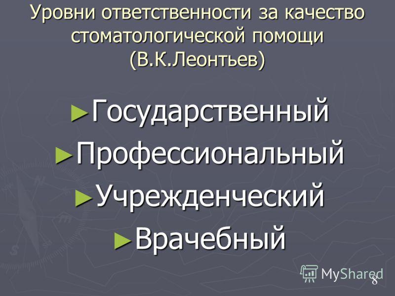 Уровни ответственности за качество стоматологической помощи (В.К.Леонтьев) Государственный Государственный Профессиональный Профессиональный Учрежденческий Учрежденческий Врачебный Врачебный 8