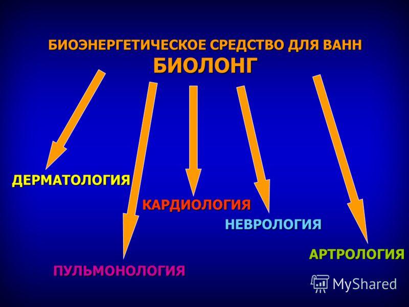 БИОЭНЕРГЕТИЧЕСКОЕ СРЕДСТВО ДЛЯ ВАНН БИОЛОНГ ДЕРМАТОЛОГИЯ КАРДИОЛОГИЯ КАРДИОЛОГИЯ НЕВРОЛОГИЯ НЕВРОЛОГИЯ АРТРОЛОГИЯ АРТРОЛОГИЯПУЛЬМОНОЛОГИЯ