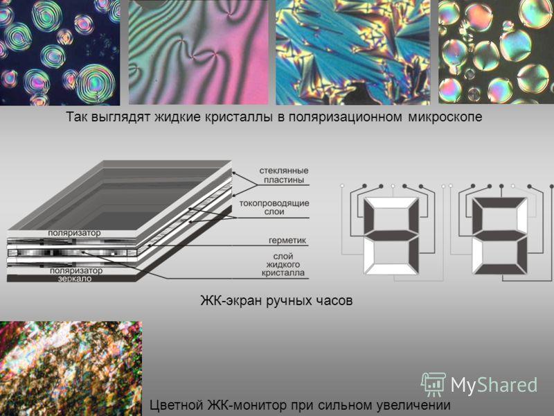 Так выглядят жидкие кристаллы в поляризационном микроскопе ЖК-экран ручных часов Цветной ЖК-монитор при сильном увеличении