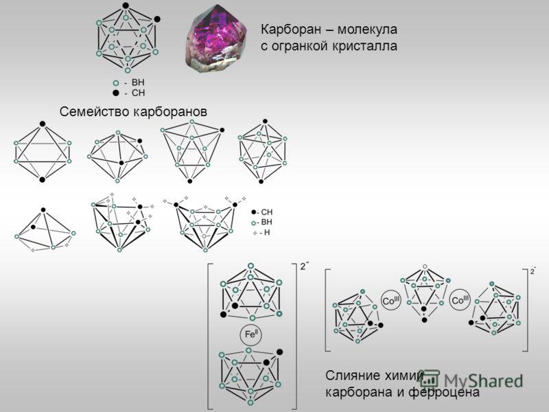 Карборан – молекула с огранкой кристалла Семейство карборанов Слияние химии карборана и ферроцена