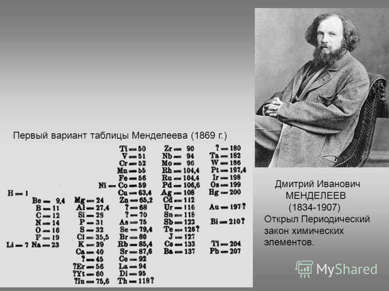 Дмитрий Иванович МЕНДЕЛЕЕВ (1834-1907) Открыл Периодический закон химических элементов. Первый вариант таблицы Менделеева (1869 г.)