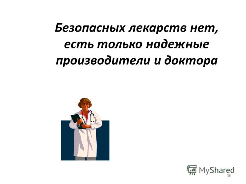 36 Безопасных лекарств нет, есть только надежные производители и доктора