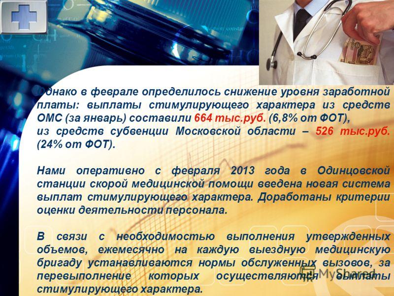 LOGO www.themegallery.com Однако в феврале определилось снижение уровня заработной платы: выплаты стимулирующего характера из средств ОМС (за январь) составили 664 тыс.руб. (6,8% от ФОТ), из средств субвенции Московской области – 526 тыс.руб. (24% от
