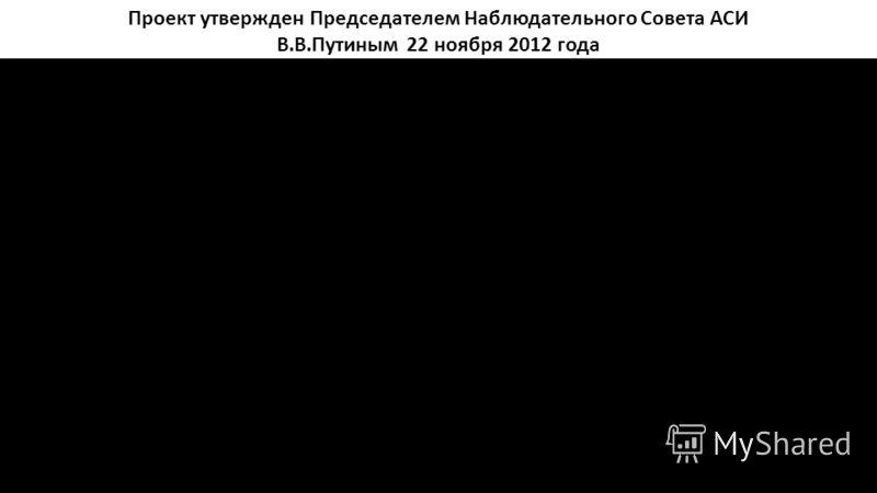 Проект утвержден Председателем Наблюдательного Совета АСИ В.В.Путиным 22 ноября 2012 года