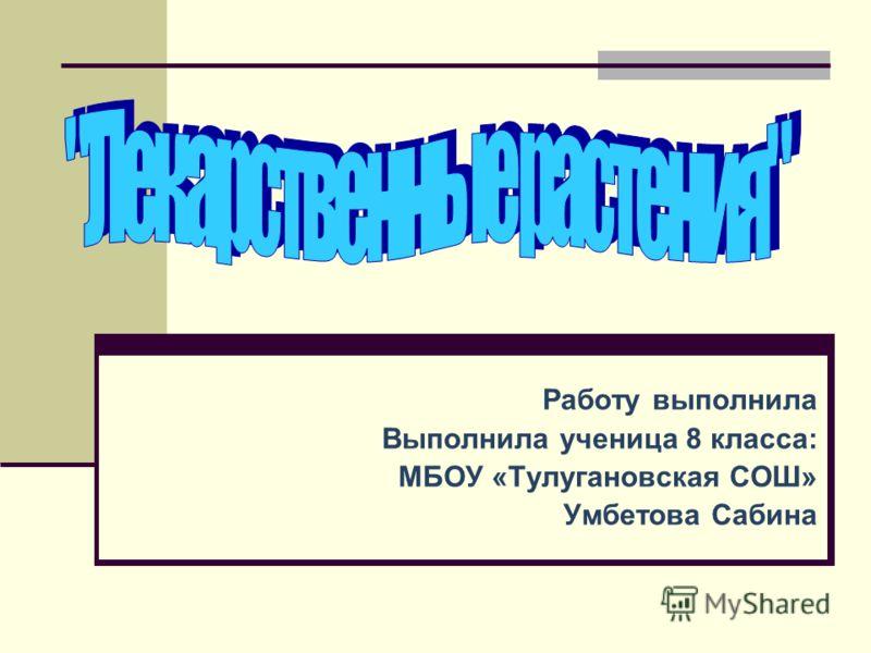 Работу выполнила Выполнила ученица 8 класса: МБОУ «Тулугановская СОШ» Умбетова Сабина