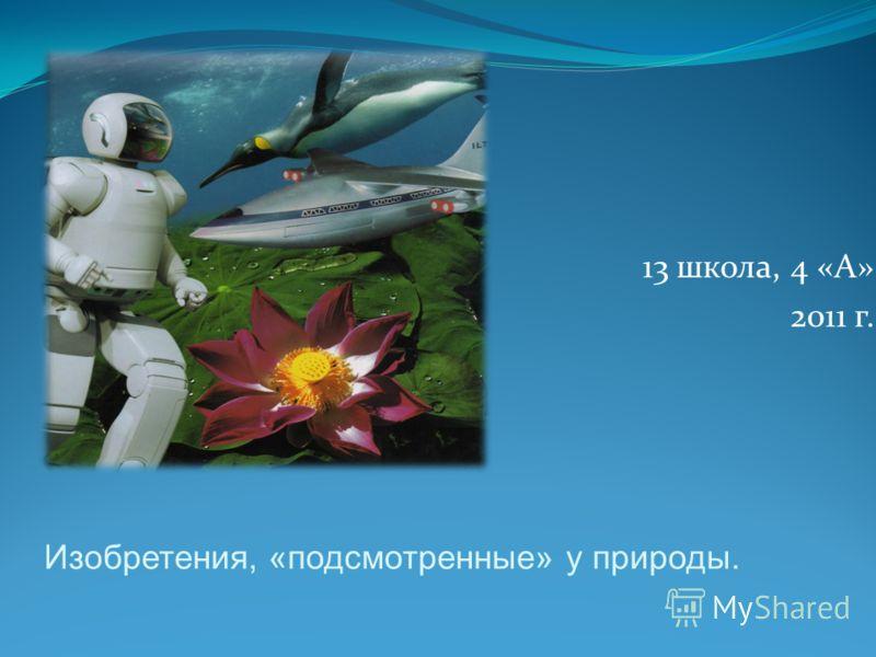 Изобретения, «подсмотренные» у природы. 13 школа, 4 «А» 2011 г.