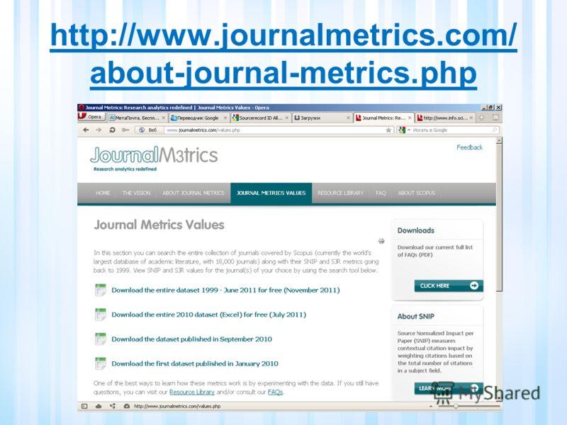 http://www.journalmetrics.com/ about-journal-metrics.php