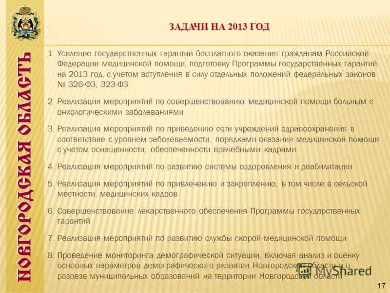 1.Усиление государственных гарантий бесплатного оказания гражданам Российской Федерации медицинской помощи, подготовку Программы государственных гарантий на 2013 год, с учетом вступления в силу отдельных положений федеральных законов 326-ФЗ, 323-ФЗ.