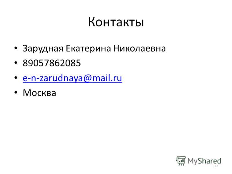 Контакты Зарудная Екатерина Николаевна 89057862085 e-n-zarudnaya@mail.ru Москва 23