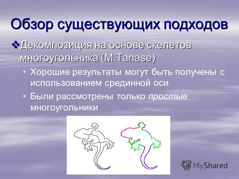 Обзор существующих подходов Декомпозиция на основе скелетов многоугольника (M.Tanase) Декомпозиция на основе скелетов многоугольника (M.Tanase) Хорошие результаты могут быть получены с использованием срединной оси Были рассмотрены только простые мног