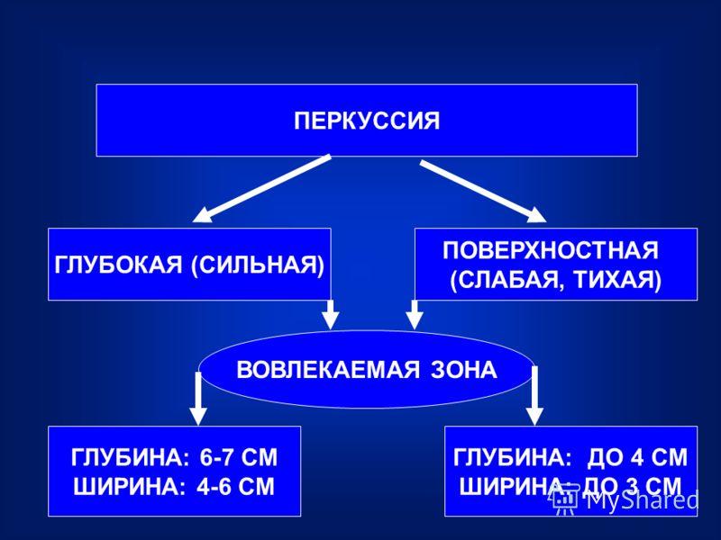ПЕРКУССИЯ ГЛУБОКАЯ (СИЛЬНАЯ) ПОВЕРХНОСТНАЯ (СЛАБАЯ, ТИХАЯ) ВОВЛЕКАЕМАЯ ЗОНА ГЛУБИНА: 6-7 СМ ШИРИНА: 4-6 СМ ГЛУБИНА: ДО 4 СМ ШИРИНА: ДО 3 СМ