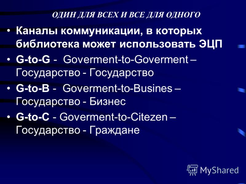Каналы коммуникации, в которых библиотека может использовать ЭЦП G-to-G - Goverment-to-Goverment – Государство - Государство G-to-B - Goverment-to-Busines – Государство - Бизнес G-to-C - Goverment-to-Citezen – Государство - Граждане ОДИН ДЛЯ ВСЕХ И В