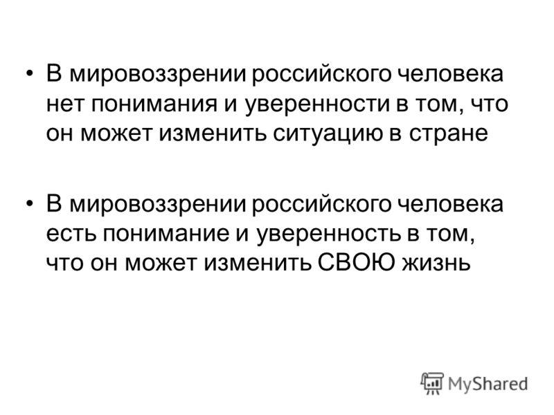 В мировоззрении российского человека нет понимания и уверенности в том, что он может изменить ситуацию в стране В мировоззрении российского человека есть понимание и уверенность в том, что он может изменить СВОЮ жизнь