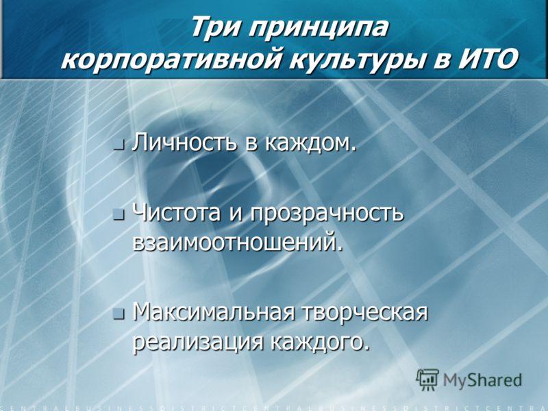 Три принципа корпоративной культуры в ИТО Личность в каждом. Личность в каждом. Чистота и прозрачность взаимоотношений. Чистота и прозрачность взаимоотношений. Максимальная творческая реализация каждого. Максимальная творческая реализация каждого.