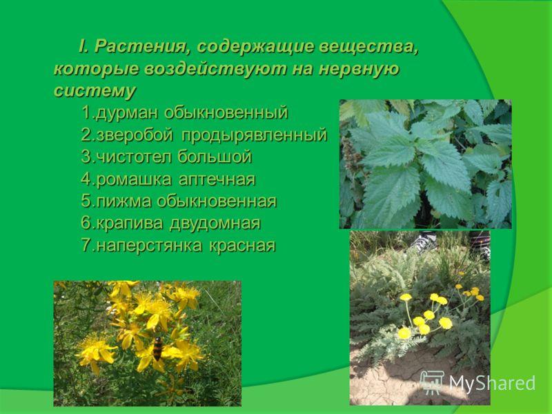 I. Растения, содержащие вещества, которые воздействуют на нервную систему I. Растения, содержащие вещества, которые воздействуют на нервную систему 1.дурман обыкновенный 2.зверобой продырявленный 3.чистотел большой 4.ромашка аптечная 5.пижма обыкнове