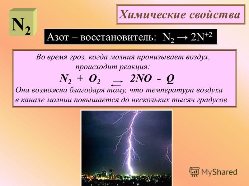 Химические свойства Азот – восстановитель: N 2 2N +2 Во время гроз, когда молния пронизывает воздух, происходит реакция: N 2 + O 2 2NO - Q Она возможна благодаря тому, что температура воздуха в канале молнии повышается до нескольких тысяч градусов N2