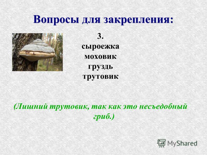 Вопросы для закрепления: 3. сыроежка моховик груздь трутовик (Лишний трутовик, так как это несъедобный гриб.)