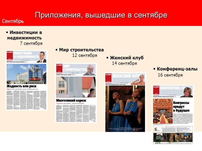 Приложения, вышедшие в сентябре Мир строительства 12 сентября Сентябрь Инвестиции в недвижимость 7 сентября Женский клуб 14 сентября Конференц-залы 16 сентября