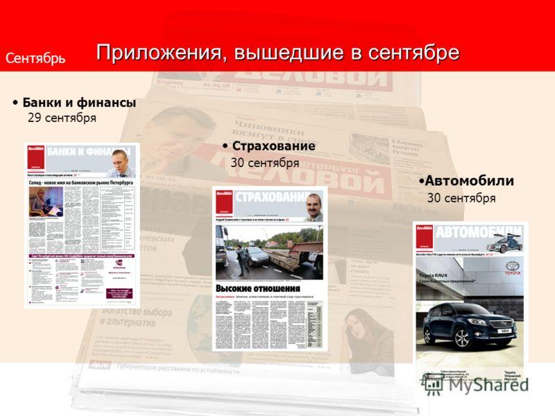 Приложения, вышедшие в сентябре Сентябрь Банки и финансы 29 сентября Страхование 30 сентября Автомобили 30 сентября