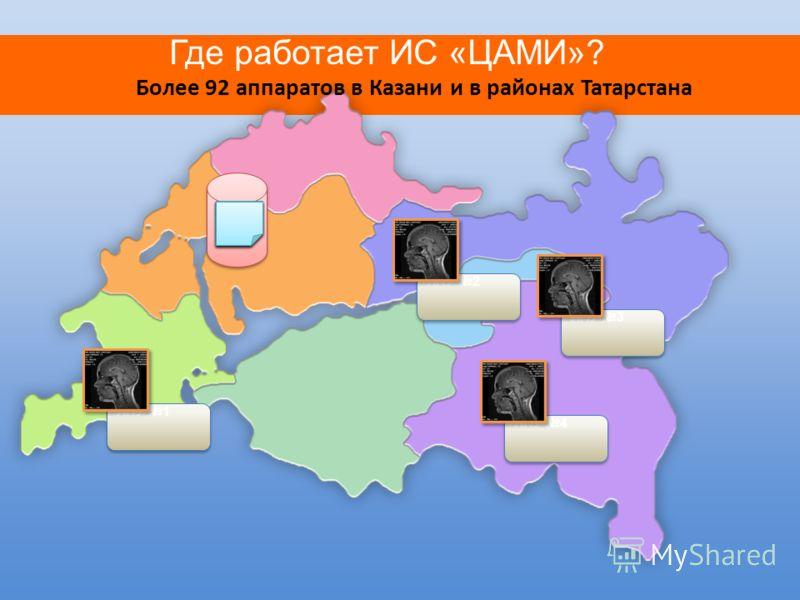 Где работает ИС «ЦАМИ»? Более 92 аппаратов в Казани и в районах Татарстана ЦАМИ ЛПУ 1 ЛПУ 2 ЛПУ 3 ЛПУ 4