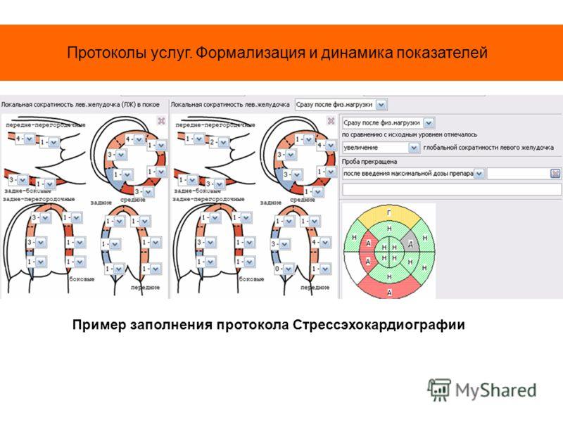 Протоколы услуг. Формализация и динамика показателей Пример заполнения протокола Стрессэхокардиографии