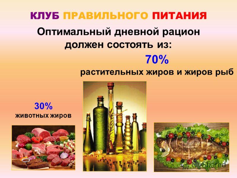 КЛУБ ПРАВИЛЬНОГО ПИТАНИЯ Оптимальный дневной рацион должен состоять из: 30% животных жиров 70% растительных жиров и жиров рыб