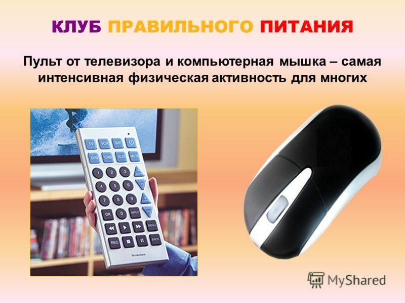 Пульт от телевизора и компьютерная мышка – самая интенсивная физическая активность для многих КЛУБ ПРАВИЛЬНОГО ПИТАНИЯ