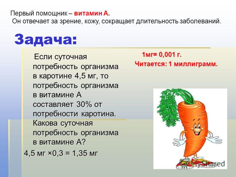 Задача: Если суточная потребность организма в каротине 4,5 мг, то потребность организма в витамине А составляет 30% от потребности каротина. Какова суточная потребность организма в витамине А? Если суточная потребность организма в каротине 4,5 мг, то