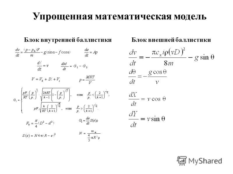 Упрощенная математическая модель Блок внешней баллистикиБлок внутренней баллистики