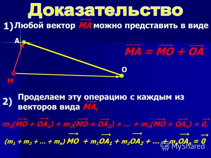 1) Любой вектор МА можно представить в виде О М A МA = МО + ОA 2) Проделаем эту операцию с каждым из векторов вида МА i m 1 (MO + OA 1 ) + m 2 (MO + OA 2 ) + … + m n (MO + OA n ) = 0, (m 1 + m 2 + … + m n ) MO + m 1 OA 1 + m 2 OA 2 + … + m n OA n = 0
