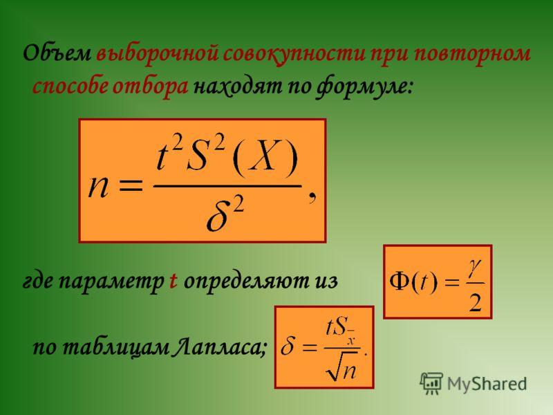 Объем выборочной совокупности при повторном способе отбора находят по формуле: где параметр t определяют из по таблицам Лапласа;