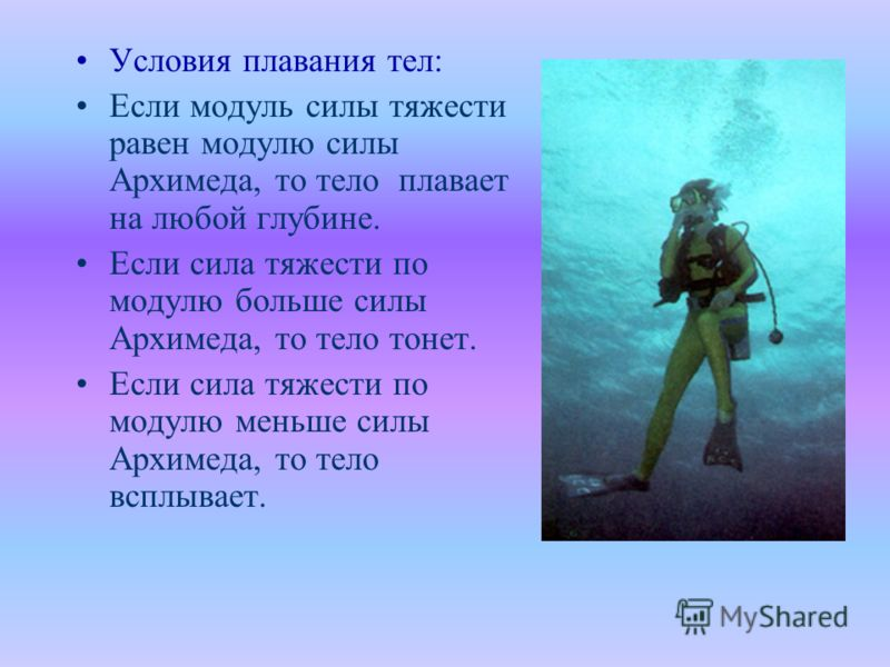 Условия плавания тел: Если модуль силы тяжести равен модулю силы Архимеда, то тело плавает на любой глубине. Если сила тяжести по модулю больше силы Архимеда, то тело тонет. Если сила тяжести по модулю меньше силы Архимеда, то тело всплывает.