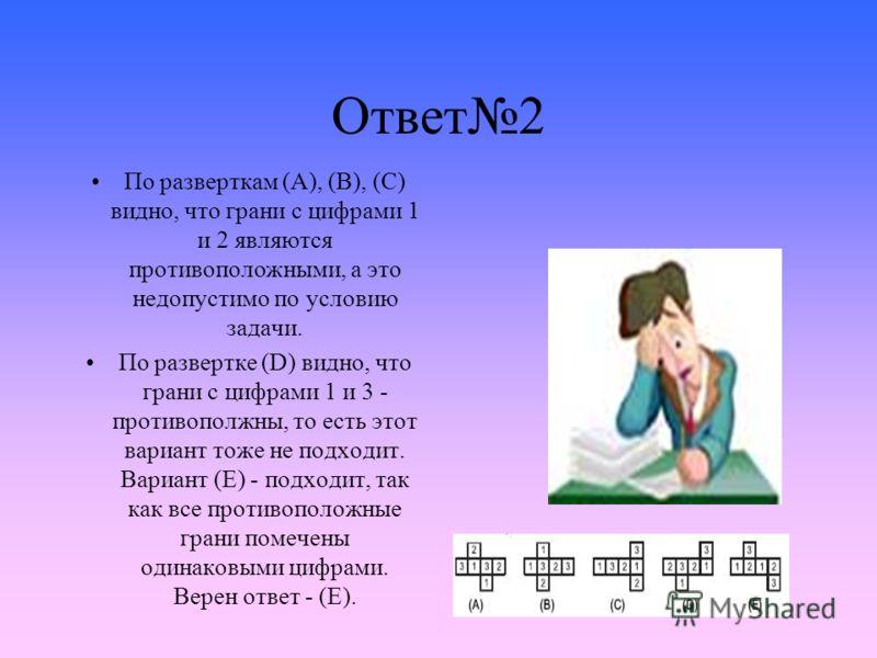 Ответ2 По разверткам (A), (B), (C) видно, что грани с цифрами 1 и 2 являются противоположными, а это недопустимо по условию задачи. По развертке (D) видно, что грани с цифрами 1 и 3 - противополжны, то есть этот вариант тоже не подходит. Вариант (E)